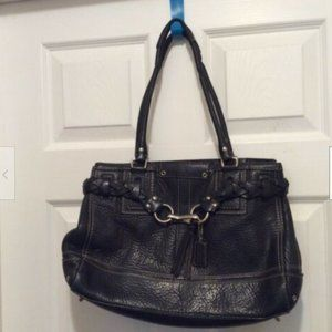 Coach Purse Black Hampton Satchel Leather Braided